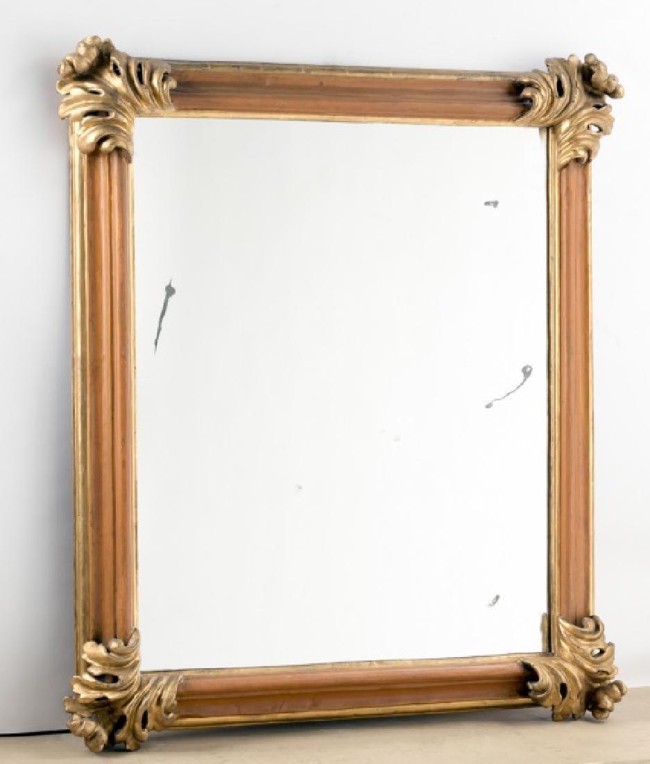 19th C. Italian Giltwood Mirror, Acanthus Corners