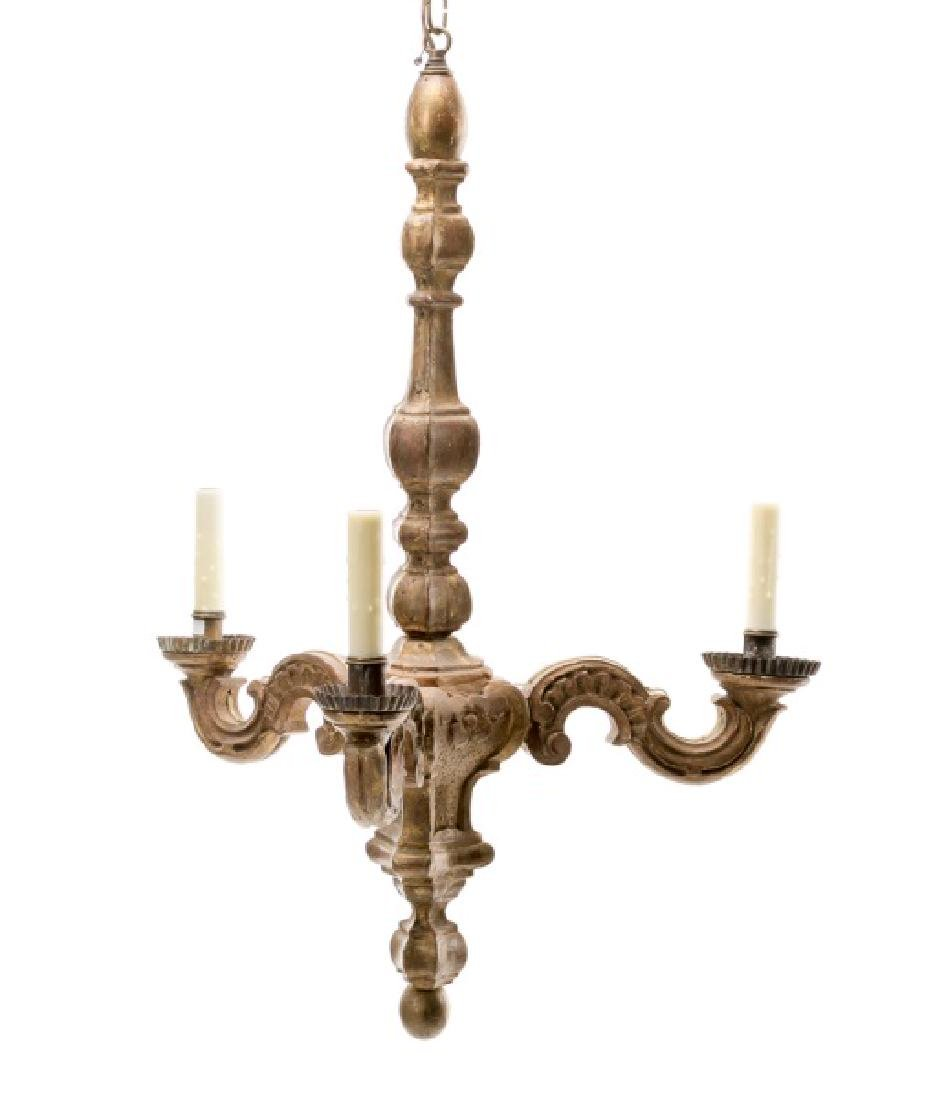 19th C. Italian Rococo Carved Giltwood Chandelier