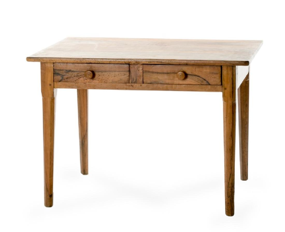 Italian Neoclassical Olive Wood 2 Drawer Table
