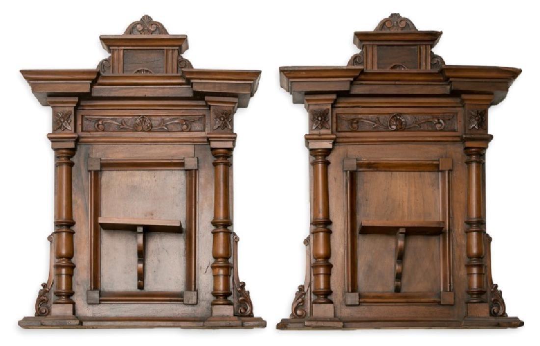 Pair, 19th C. Mahogany & Walnut Wall Shelves