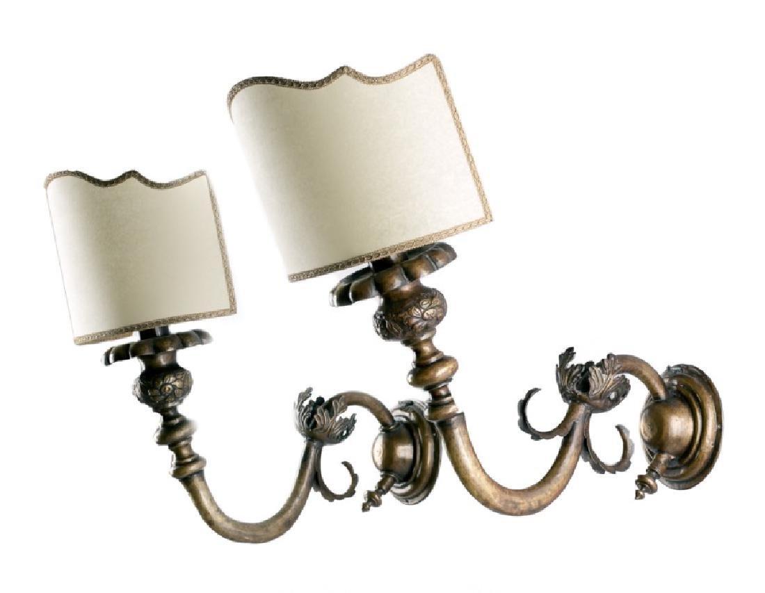 Pair, 19th C. Baroque Style Brass 1-Arm Sconces