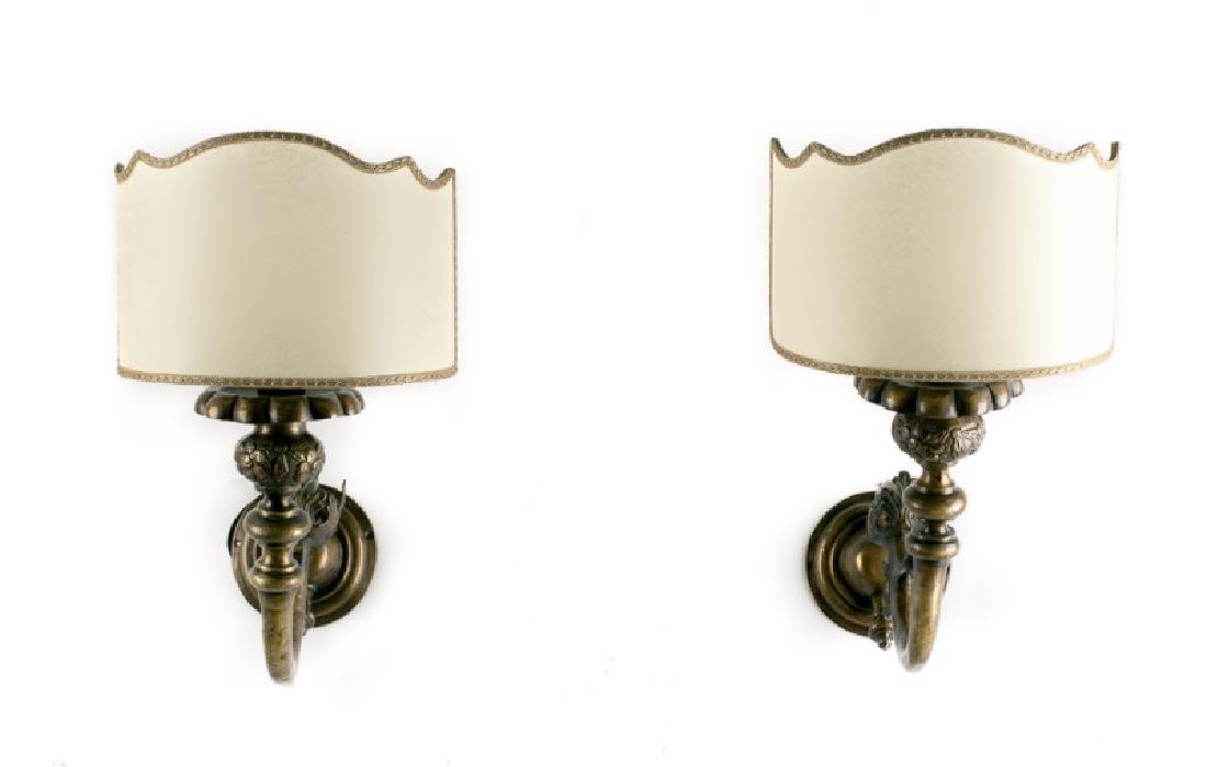 Pair, 19th C. Baroque Style Brass 1-Arm Sconces - 2