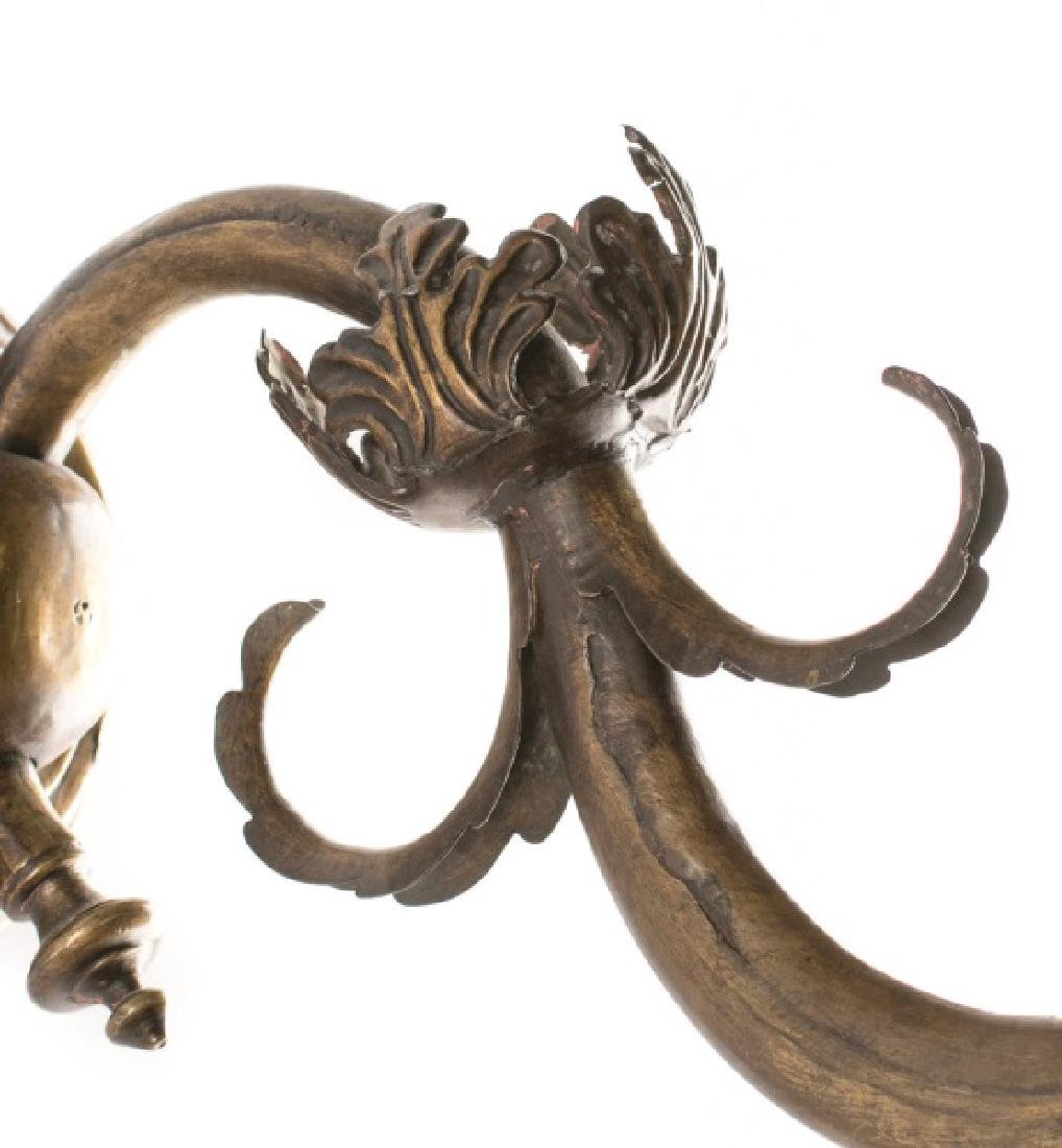 Pair, 19th C. Baroque Style Brass 1-Arm Sconces - 4