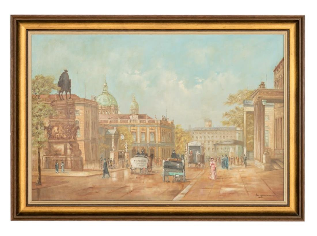 20th C. French Street Scene O/C Signed Bergmann