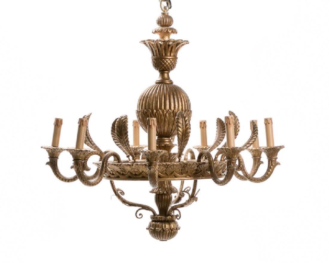 Baroque Style Nine Light Giltwood Chandelier