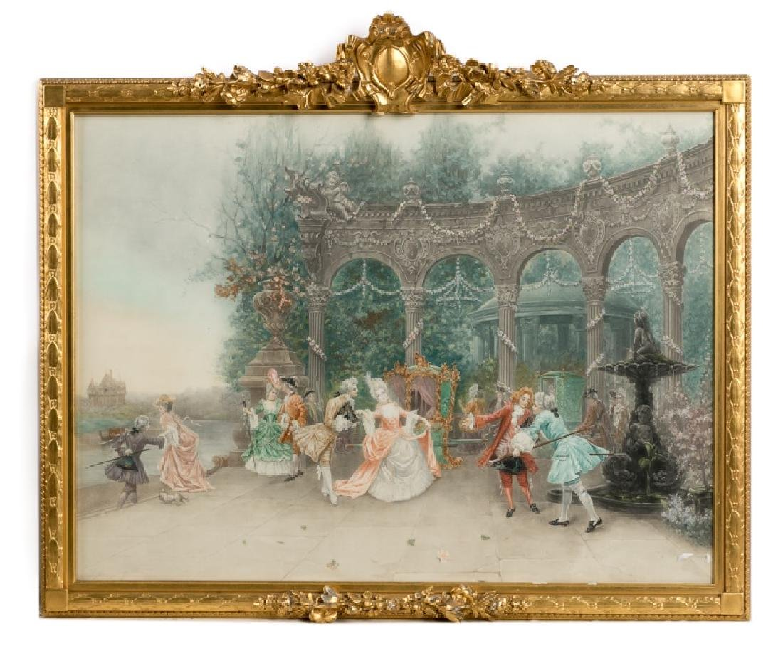 Gilt Framed Courting Scene, Color Pencil Drawing