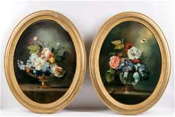 Pair, 19th C. Oval Floral Still Life Oil on Board