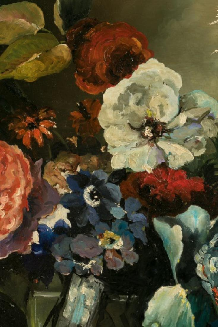 Pair, 19th C. Oval Floral Still Life Oil on Board - 4