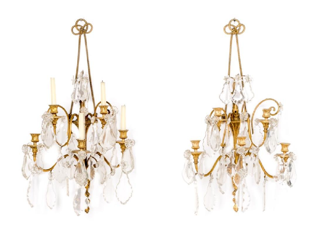 Pair, 19th C. French Gilt Bronze Candle Sconces