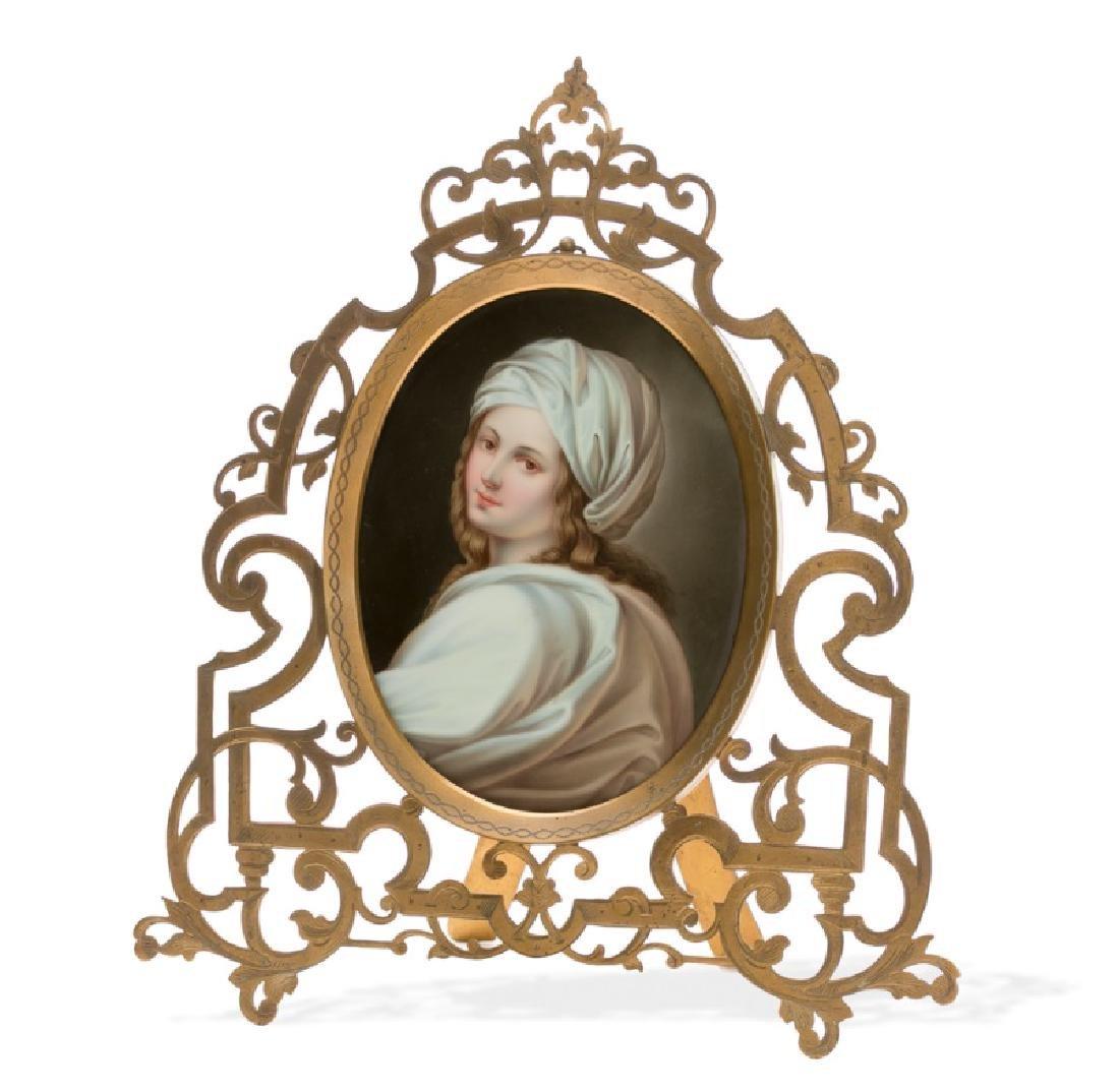 Oval Framed Portrait on Porcelain, 19th C.