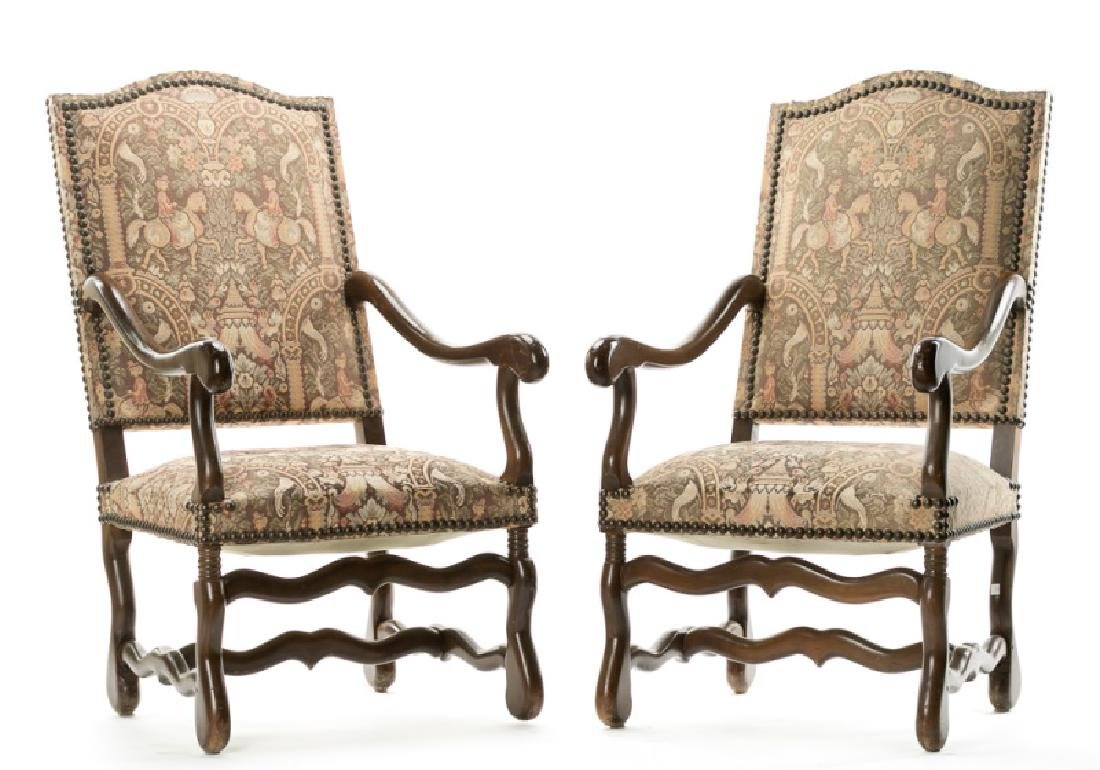 Contemporary Tapestry Upholstered Fauteuils