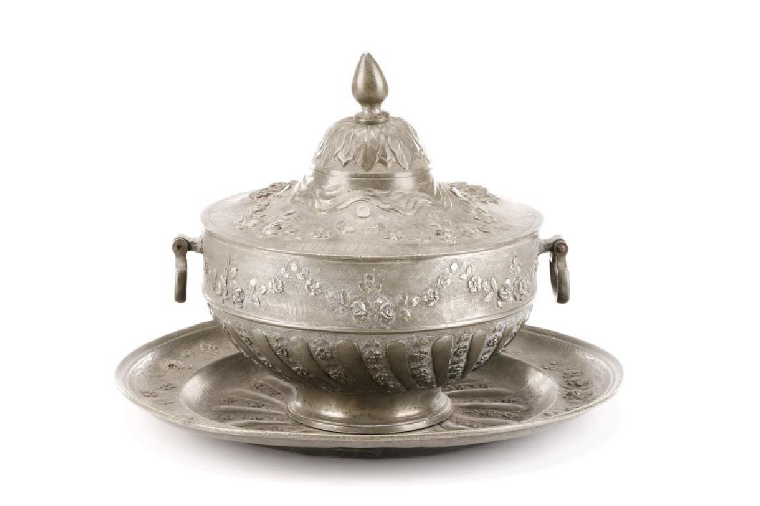 Fine 19th C. French Pewter Soup Tureen with Saucer