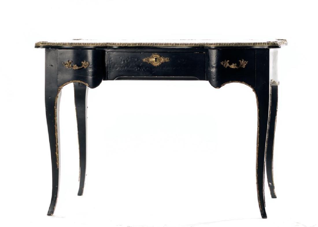 French Ebonized & Gilt Metal Mounted Desk