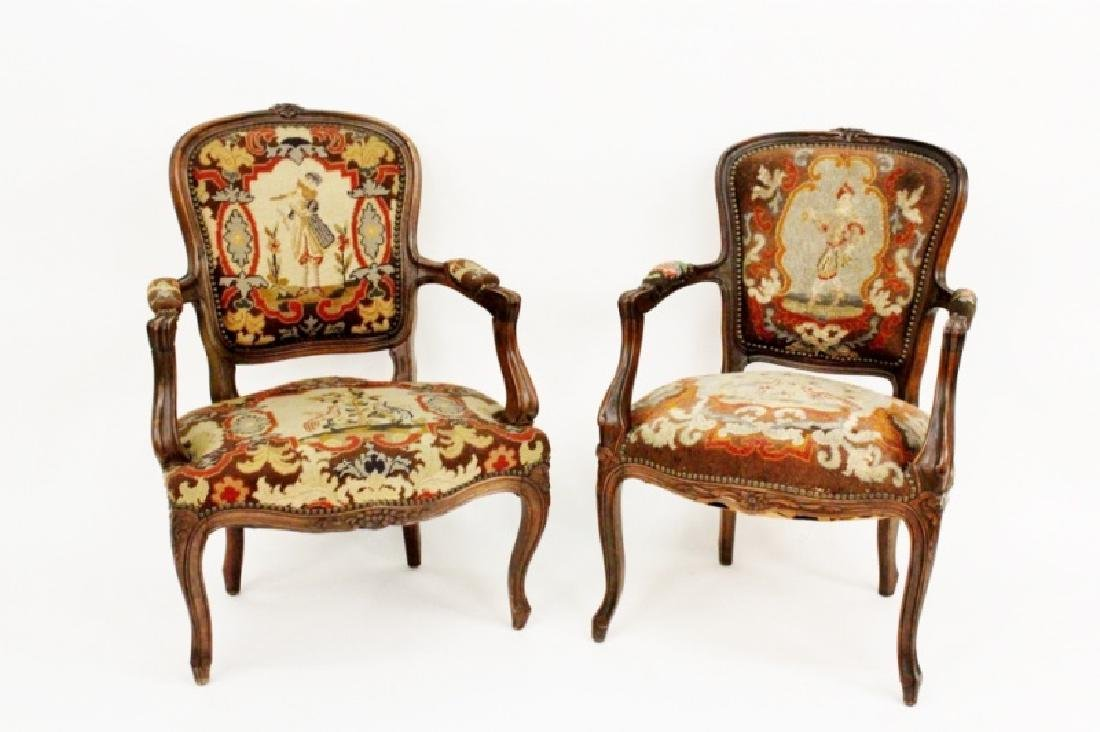 Group of 2 Needlepoint Upholstered Armchairs