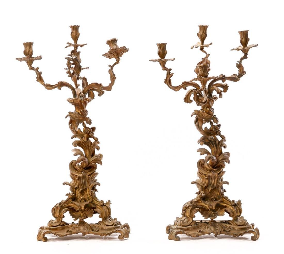 Pair, Patinated Four Light Converted Candelabras