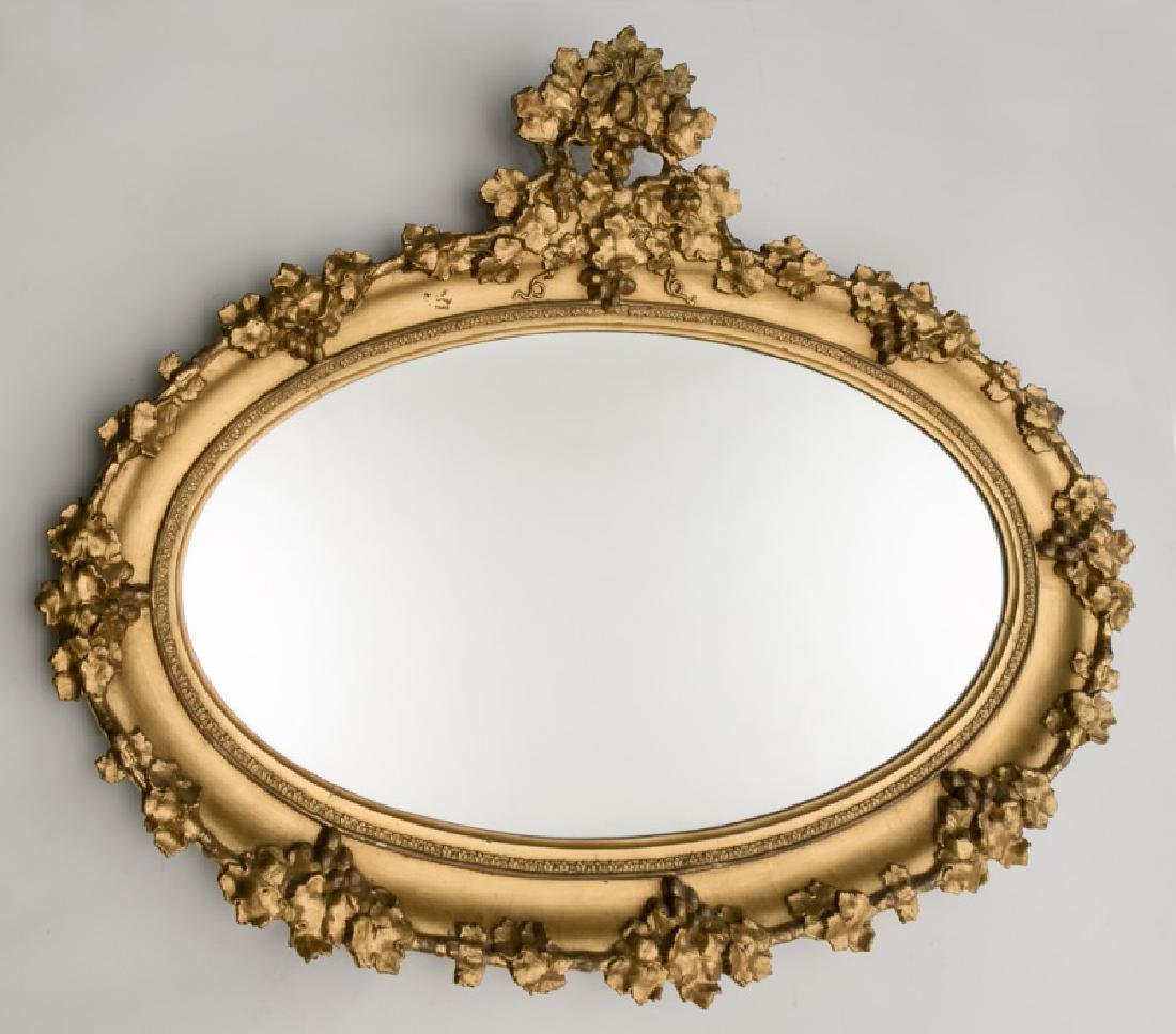Mid 19th C. Oval Giltwood Mirror with Grape Motif