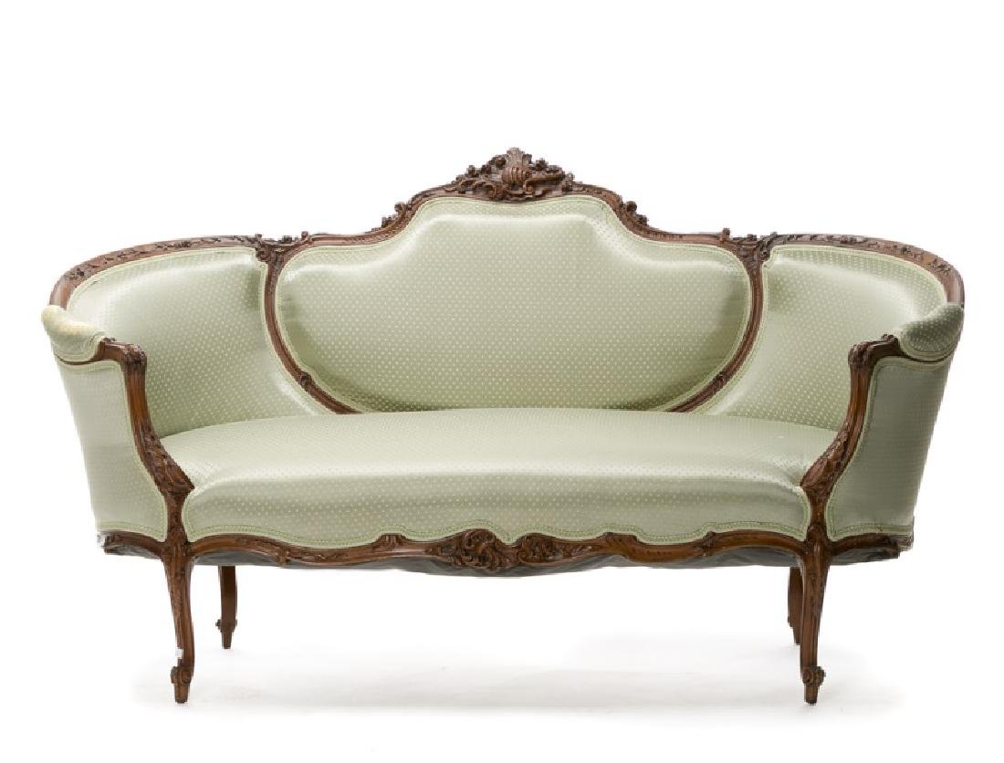 French Rococo Style Walnut Upholstered Settee
