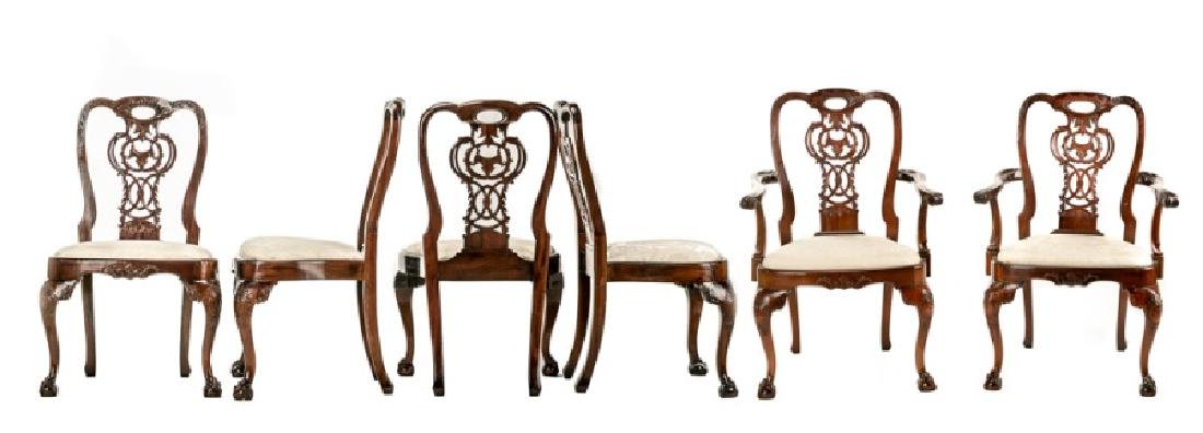 Set, 10 Mahogany Chippendale Style Dining Chairs