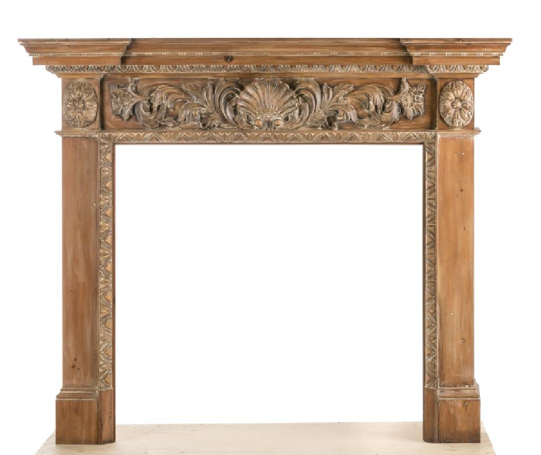 English Georgian Style Carved Shell Mantle