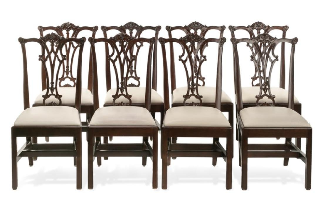 Set, 8 Mahogany Chippendale Style Dining Chairs