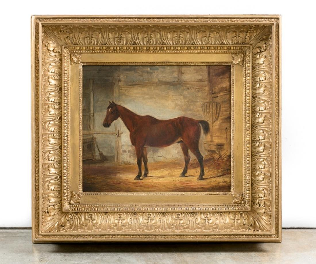 W.J. Chapman Signed 1849 Oil, Chestnut Horse
