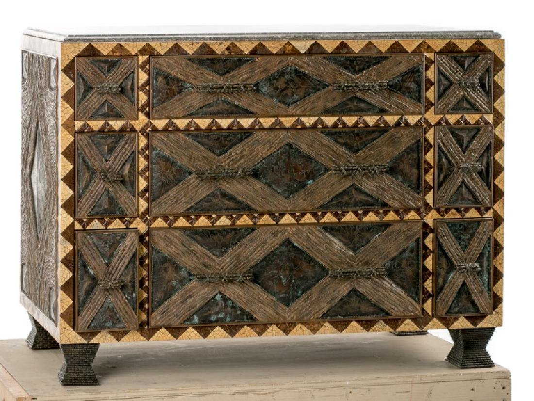 Maitland-Smith Abstract Faux Bois Chest, Stone Top