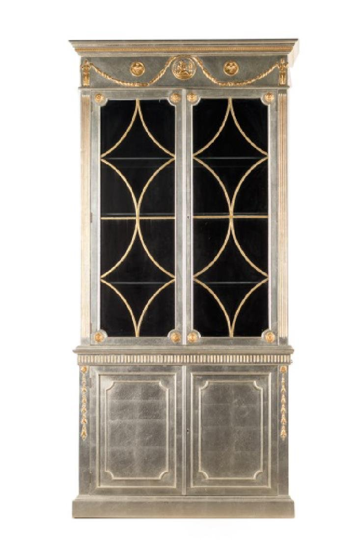 Silver & Gilt Neoclassical Style Bookcase Cabinet