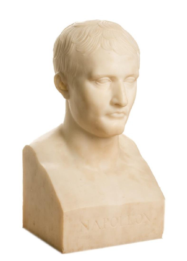 Large White Marble Bust of Napoleon, 19th/20th C.
