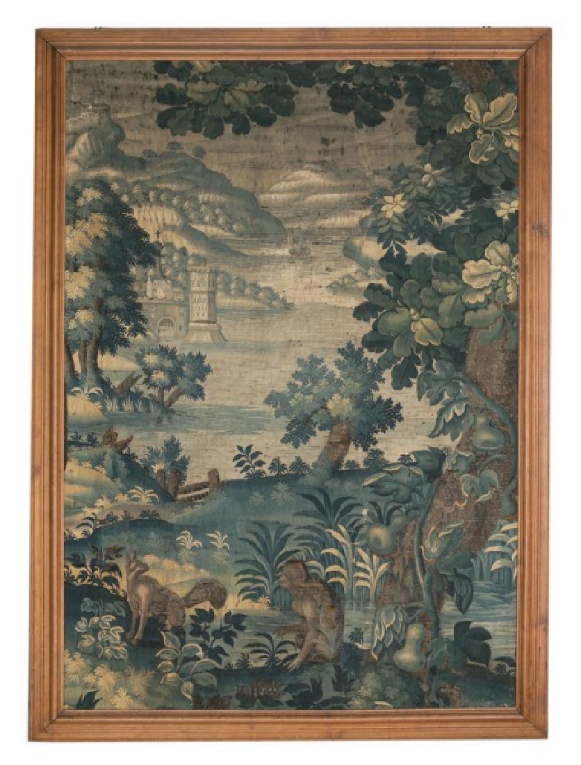 Large 18th C. Framed Verdure Tapestry