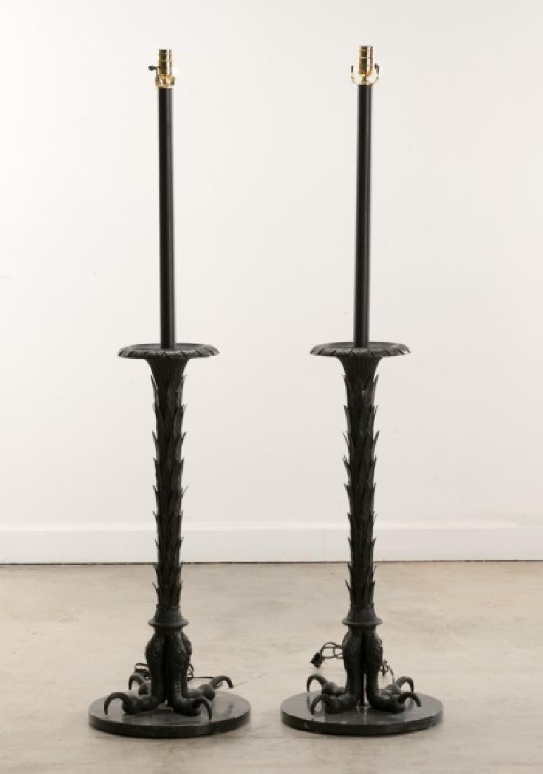 Pair, Edgar Brandt Style Iron Floor Lamps