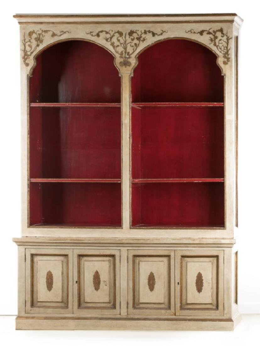 Italian Two Piece Polychromed Bookcase Cabinet