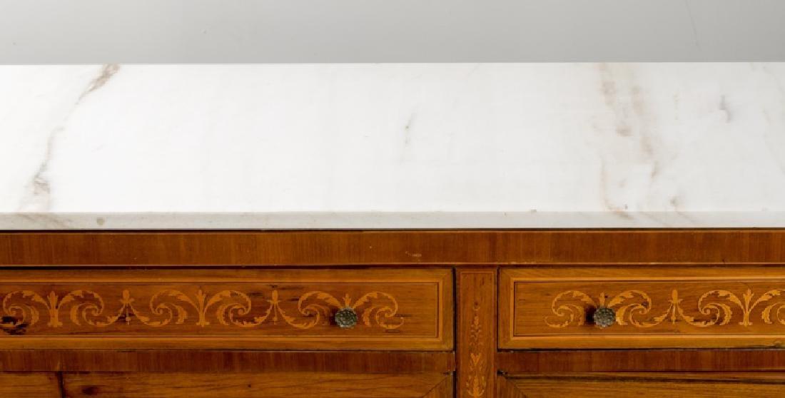 Italian Neoclassical Sideboard, Carrera Marble Top - 5