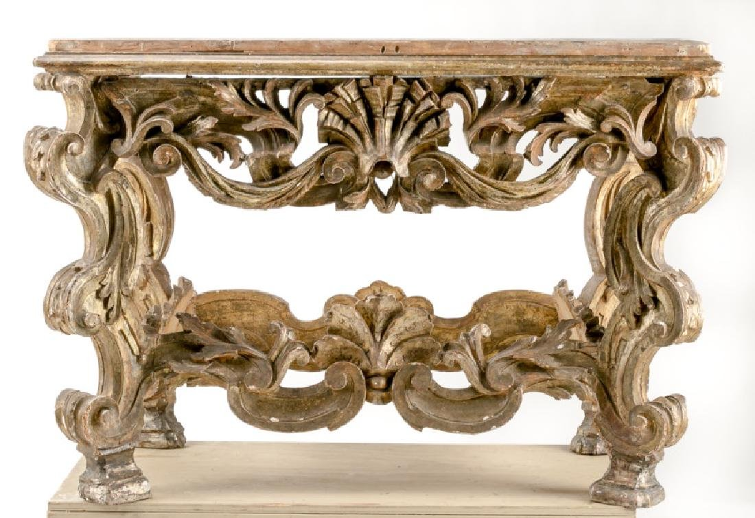 Italian Baroque Style Carved Gilt Wood Console