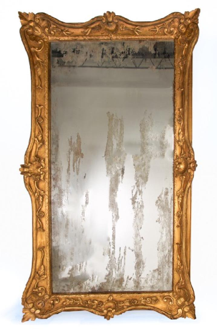 Large Baroque Style Giltwood Floral Motif Mirror