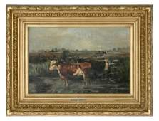 19th C. Henry Schouten Pastoral Oil on Board