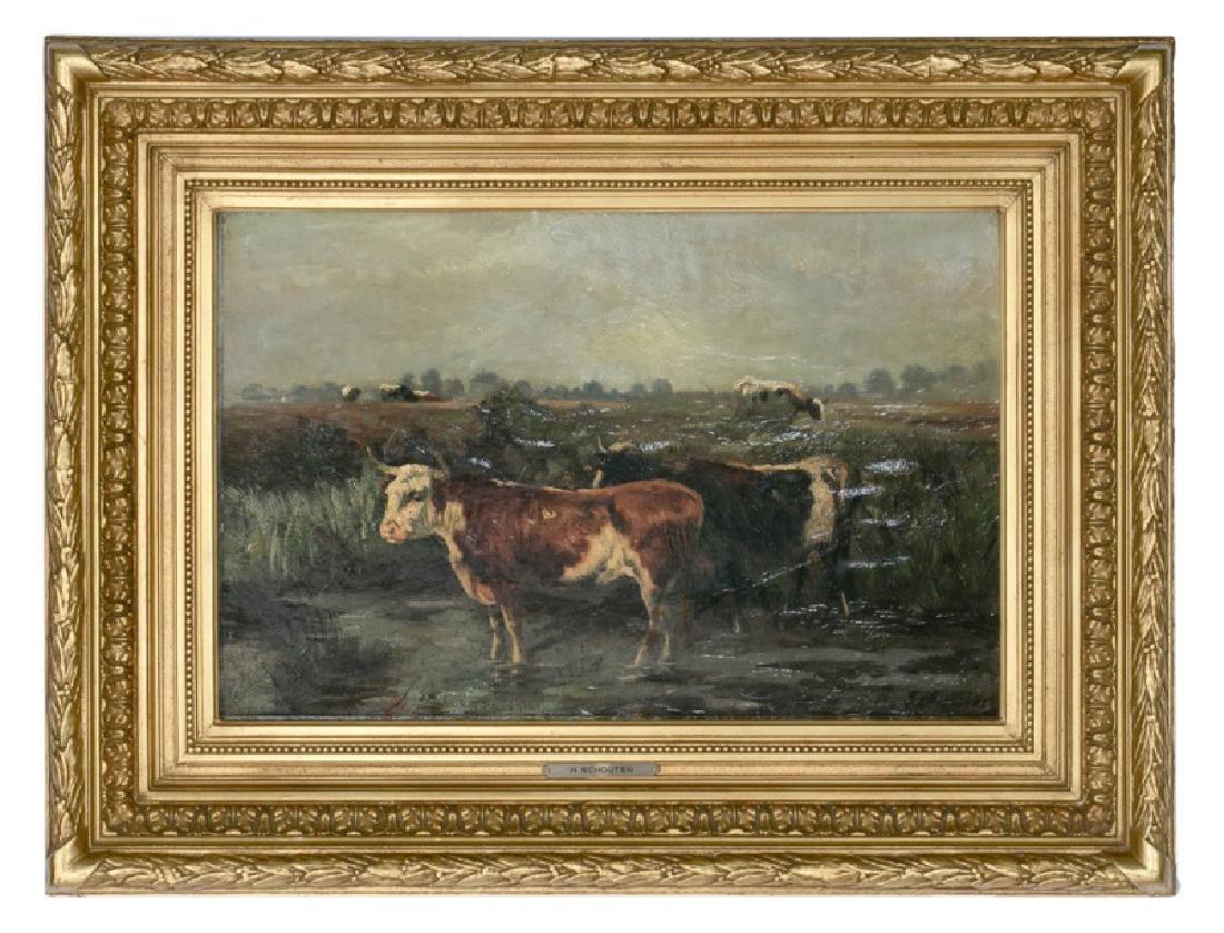 19th C. Henry Schouten Pastoral Oil on Board