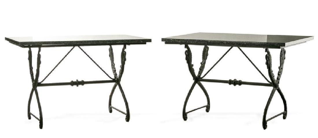 Pair, French Marble Top Swan Motif Console Tables