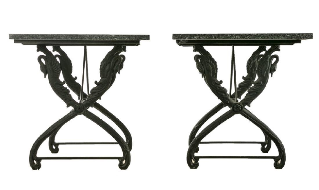 Pair, French Marble Top Swan Motif Console Tables - 2