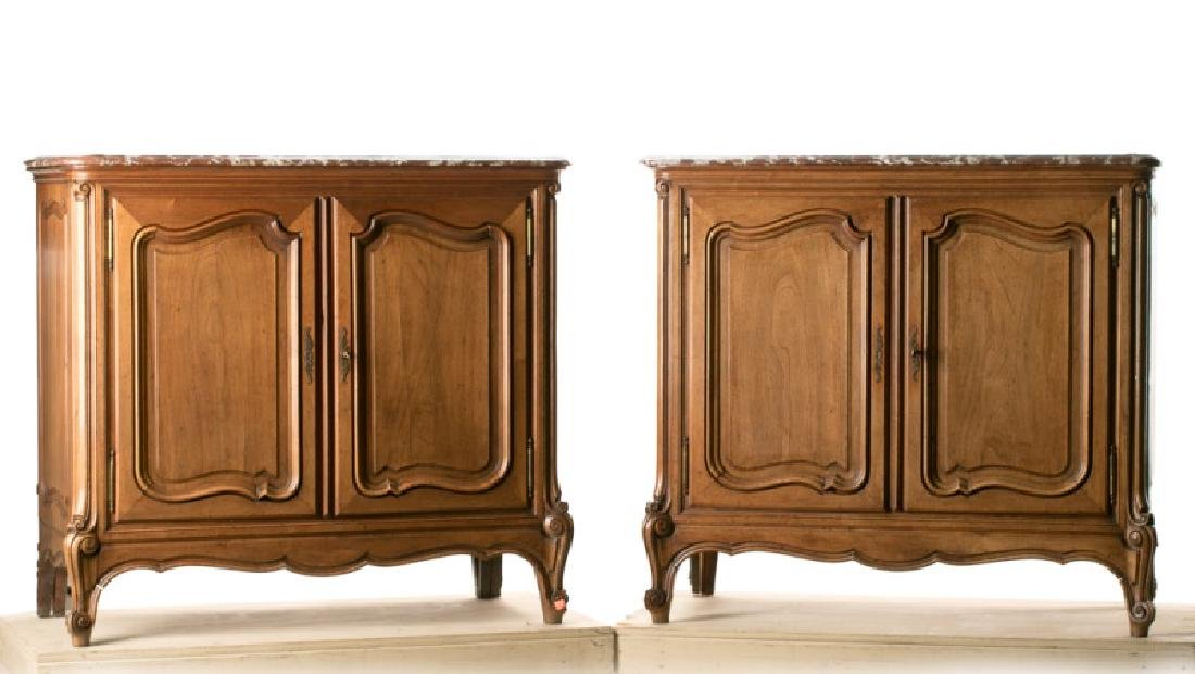Pair of French Walnut Marble Top Commodes