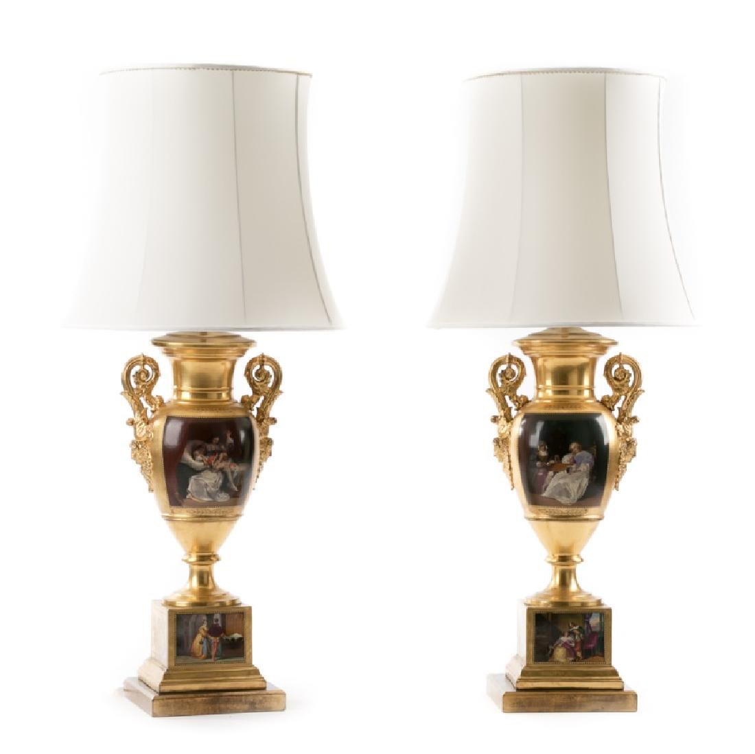 Pair, Painted Paris Porcelain Style Urn Lamps