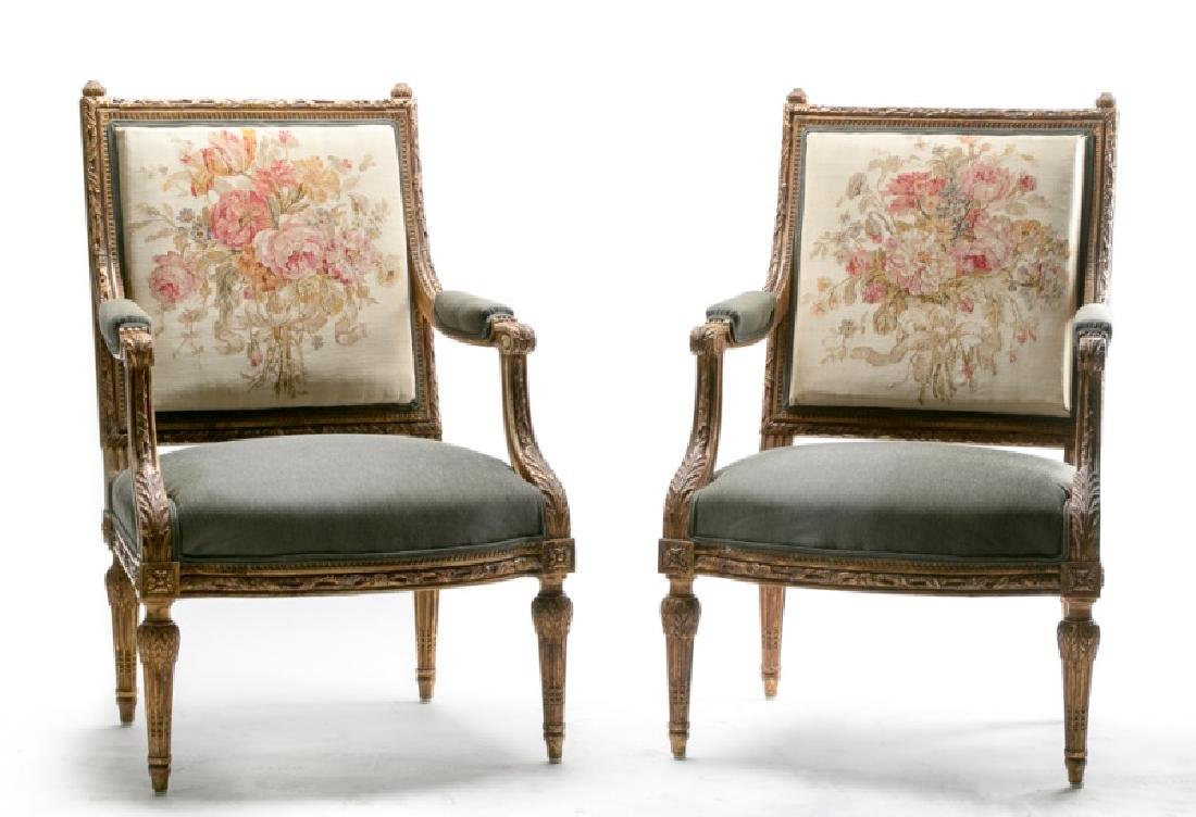 Pair, 19th C. Louis XVI Style Petit Point Chairs