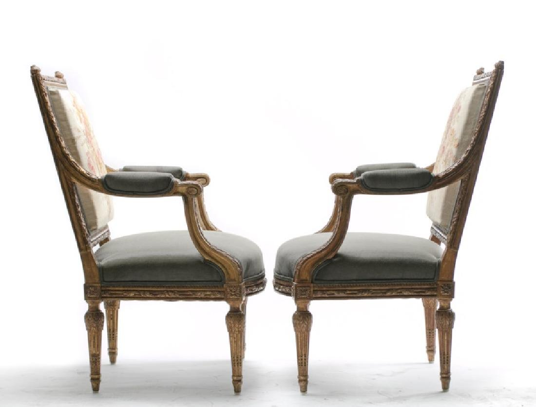 Pair, 19th C. Louis XVI Style Petit Point Chairs - 5