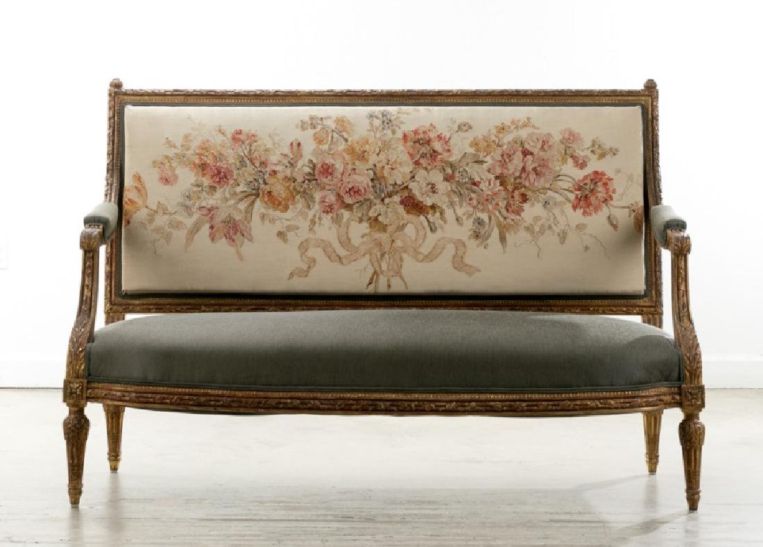 19th C. Louis XVI Style Petit Point Back Settee