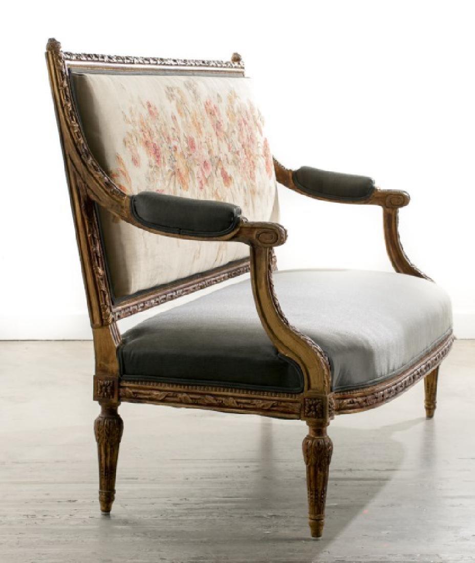 19th C. Louis XVI Style Petit Point Back Settee - 2