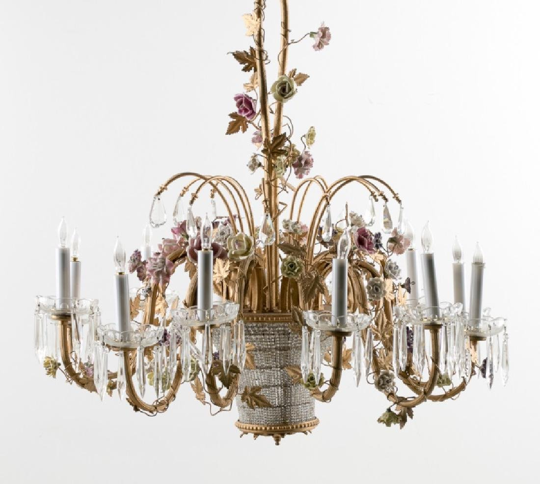 Flower Decorated 12-Light Louis XVI Chandelier