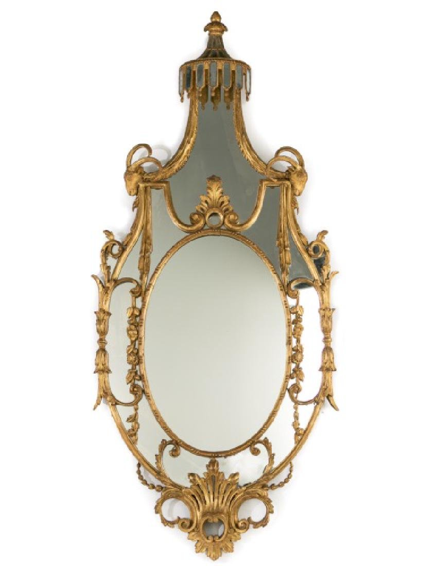 19th C. French Giltwood Ornate Carved Mirror