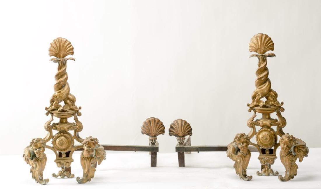 Pair of Bronze Dolphin, Shell & Cherub Andirons