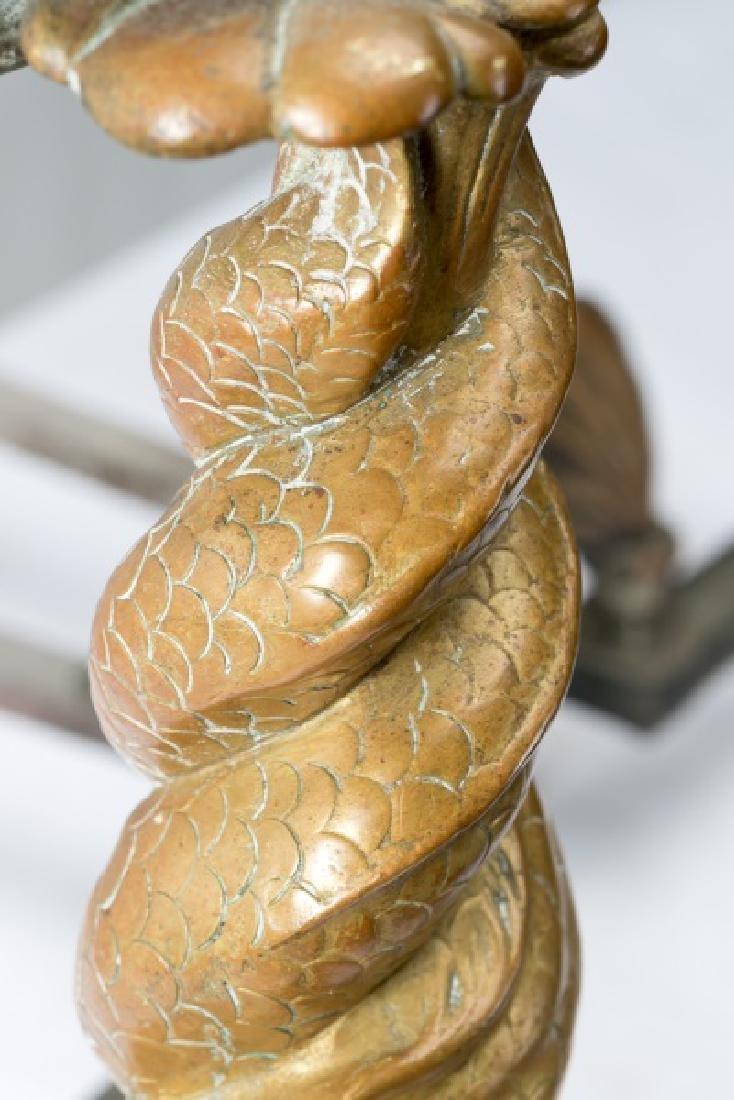 Pair of Bronze Dolphin, Shell & Cherub Andirons - 5