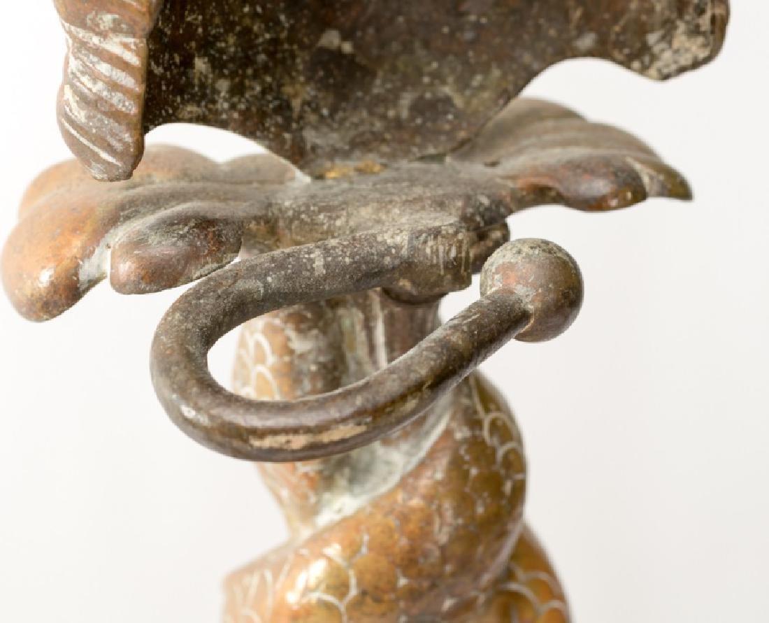 Pair of Bronze Dolphin, Shell & Cherub Andirons - 6