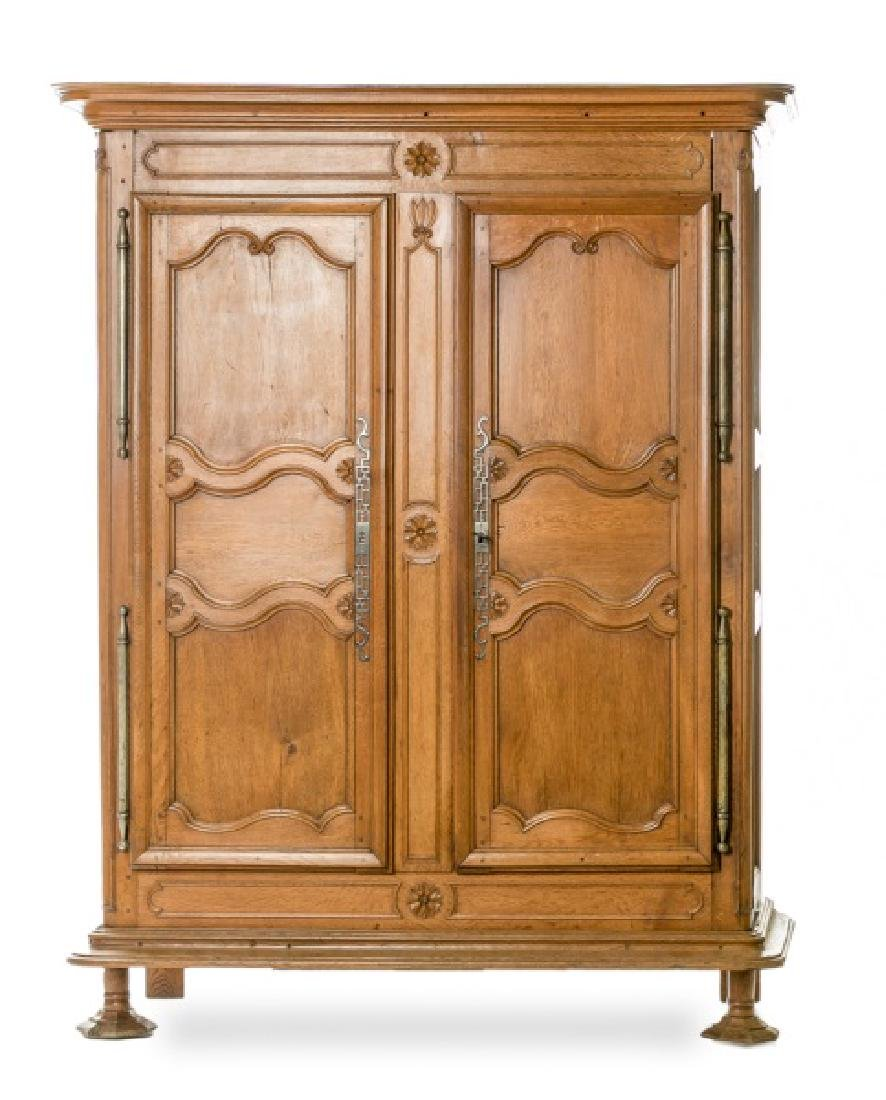 19th C. French Walnut Armoire with Asian Carving